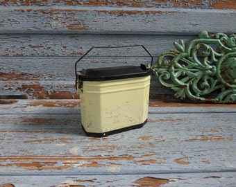 French Vintage Enamel Granitware Lunch Box  1950s