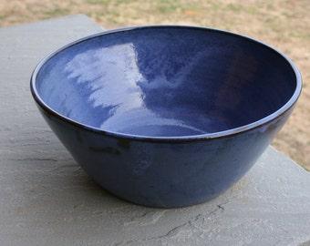 Pottery Bowl Cobalt Blue Glaze NC Pottery Serving Bowl