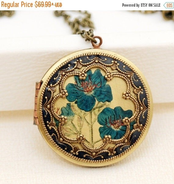 ON SALE Personalization Locket,Brass Locket,Antique Botanical ,Iris,Blue Flowers Locket,Photo Locket,Wedding Necklace,bridesmaid gift,locket