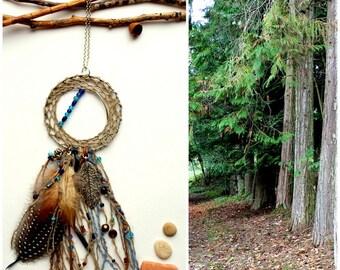 Dream catcher,  Necklace, blue, Feathers, Bohemian, Hippie, Nature, Modern design, Handmade