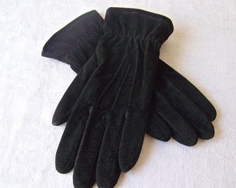 Vintage Gloves by Fownes Thinsulate Driving Gloves For Women Black Leather Lined Ladies Gloves Size Large Ladies Vintage 1980s