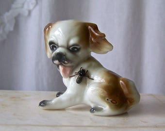 Vintage Puppy Figurine Fly On Dog Porcelain Dogs 1960s