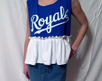 Kansas City Royals Game Day Top, Ruffle Peplum Blue White Baseball Spring Training Top