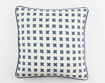 ON SALE Quadrille China Seas Cross Check Pillow (Both Sides- 17 X 17  in Navy on Tint with Navy Welting)