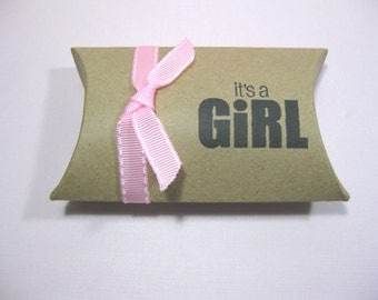 Set of 10 Kraft Pillow Boxes - Baby Girl Favor Boxes - It's a Girl - Baby Shower Favor Boxes - Baby Girl Shower