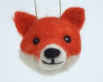 Fox Ornament - needle felted animal wool ball ornament