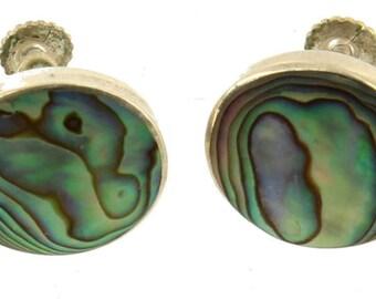 """Vintage Sterling Abalone Screw Back  Earrings Blue Green Purple 5/8"""""""