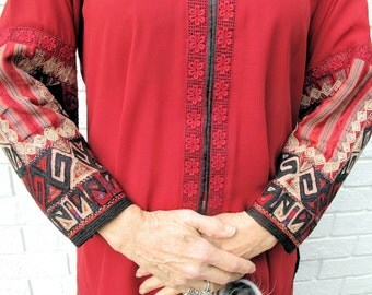 Red Silk Pant Suit by Old Silk Route with Recycled Afghanistan Tribal Cuffs