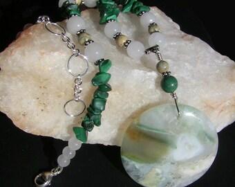 Ocean Jasper Moon & Malachite Necklace