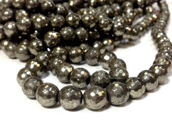 Natural Pyrite 6 8 10 mm Faceted Round Beads Gemstone 96 Faces (G0928NW303248-MS)