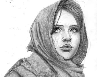 Rouge One Giclee print of pencil drawing of Jyn Erso