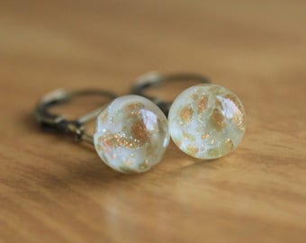 Creamy White Button Earrings - Antique Vintage Paperweight Glass Charm String Charmstring Button Dangle Drops