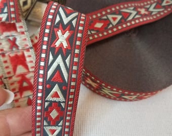 Red Native Jacquard Ribbon, 7/8 inch Sold by the Yard