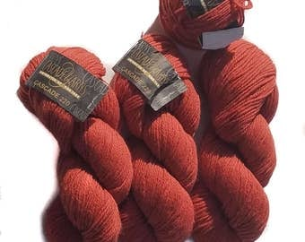 Cascade 220 Yarn, 100% Peruvian Highland Wool - 13 oz. total (3 full skeins and 1 partial), Color 7829