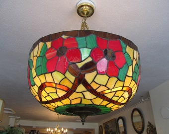 Fantastic Large Vintage Stained Glass Light Fixture