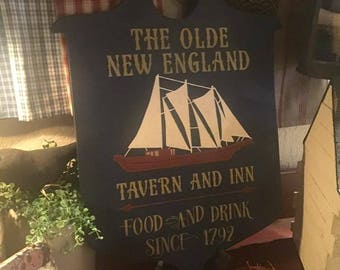 Old New England Tavern and Inn sign ,Tavern sign, Colonial Tavern sign, trade sign, cusotm signs, nautical signs, New England signs, ships