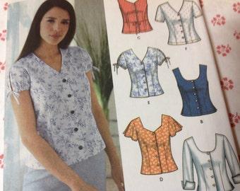 Simplicity Pattern 7167, Button Top Pattern, Blouse Pattern, Sizes 12 14 16 18 Pattern, Uncut Pattern