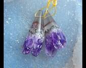 Drusy Amethyst Gemstone Earring Bead,37x16x12mm,13.9g