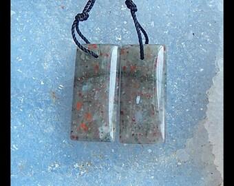 African Blood Jasper  Earring Beads,25x12x6mm,7.1g