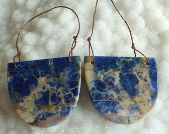 Fashion Natural African Sodalite Gemstone Double Hole Earring Bead Jewelry Gift Gem Customized Gemstone Beads 29x33x2mm,15.44g