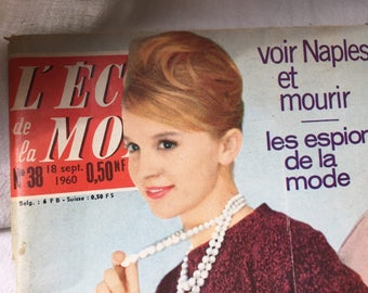 Best Friend Gift, Vintage Journal 1960, French fashion adverts, Birthday Gift, Vintage ephemera, OOAK magazine, Vintage sewing pattern