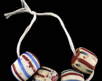 4 Venetian Trade Beads Striped with Red Core Africa 106989