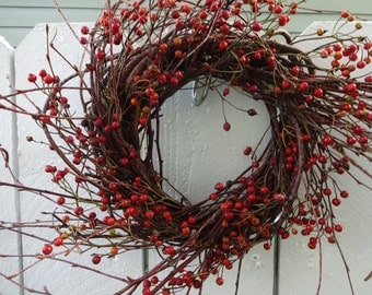Rose Hips Wreath Birch Wreath  Valentine Wreath  Christmas Wreath  Rustic Wreath  Natural Wreath  Dried Wreath