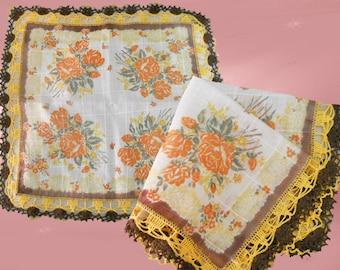 Mom Handkerchief, 40s Hanky, Fine Linen Hanky, Mom Hanky, Grandmother Gift, Hanky with Crochet, Package Decoration
