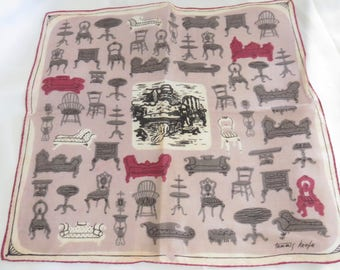 Vintage Hankie Handkerchief with Victorian Furniture by Tammis Keefe