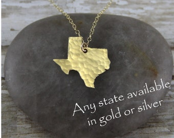 Gold Texas Necklace - Gold Texas State Necklace - Gold Texas Pendant - Going Away Gift - Bridesmaid Gift