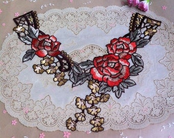 4pcs 34x29x13cm wide brown peony clothes embroidered collar appliques patches B43E174L0301R free ship