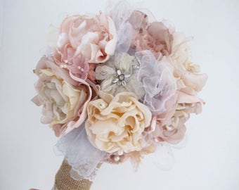 Bespoke Fabric & Brooch Wedding Bouquet / Custom Wedding Flowers / Bride / Bridesmaid / Flower Girl Posy / Bridal Bouquet / Brooch Bouquet