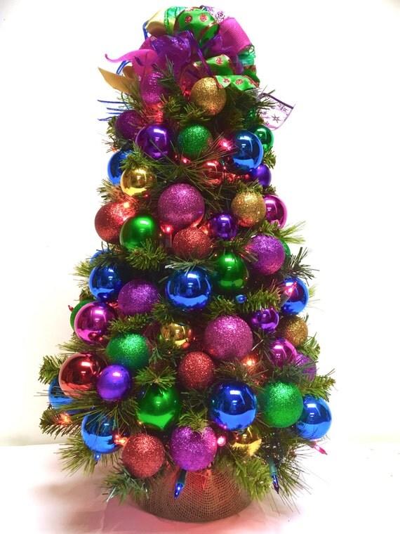Tabletop tree bright jewel tone christmas prelit colored