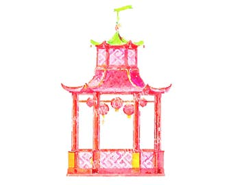 Pink Pagoda Art Print Chinoiserie Chinese Palm Beach Hollywood Regency