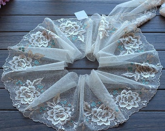 2 Yards Lace Trim Beige Big Flower Floral Embroidered Scalloped Tulle Lace 7.87 Inches Wide High Quality