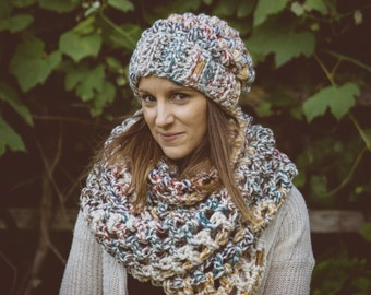 Rainbow Blend Chunky Oversized Infinity Scarf & Hat Set,  Extra Wide Infinity Scarf, Gift Set, Winter Accessories