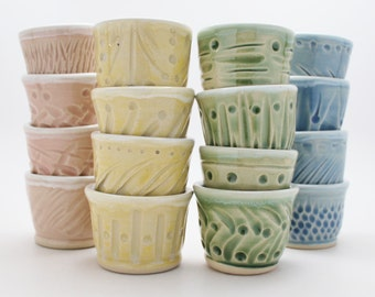 Colorful Tiny Cups or Ramekin In A Sets Of Four, Handmade Pottery Barware