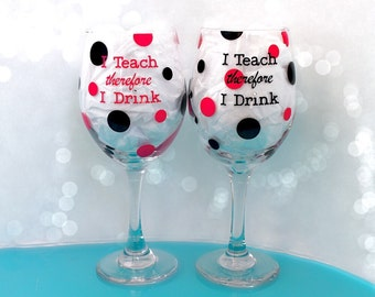 Teacher Wine Glasses, set of 2 funny gift idea