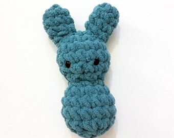 Teal Bunny Floof - Super Soft & Cuddly Crochet Plushie Stuffed Toy Animal - 7.5 inch Plush Rabbit Baby Childrens Toy Blue Green