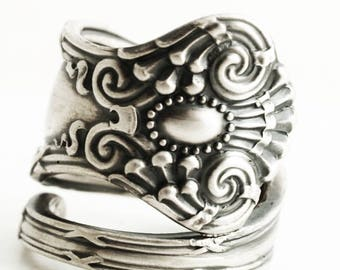 """Victorian Spoon Ring, Ornate Rococo Jewelry, Silver Swirl Sterling Silver Ring Gift, Antique Towle """"Empire"""" of 1894, Custom Ring Size (6633)"""