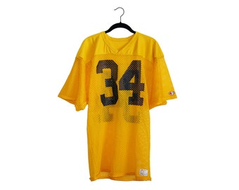 Vintage Bright Yellow Champion Sportswear #34 100% Nylon Football Jersey, Made in USA - Large