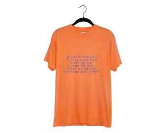 """Vintage Bright Orange """"This Is My Official Vacation"""" Joke T-Shirt Hanes 50/50 Poly-Cotton Blend T-Shirt, Made in USA - L"""