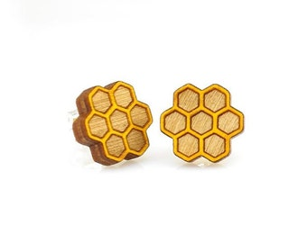 Honeycomb Studs -  Laser Cut Earrings from Reforested Wood
