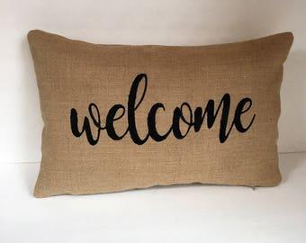 "Welcome Lumbar Burlap Pillow Made to Fit 12"" x 18"" Insert"