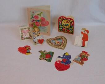 Vintage Collection of Valentines Cards, Valentine Cards, Ephemera, Die Cuts