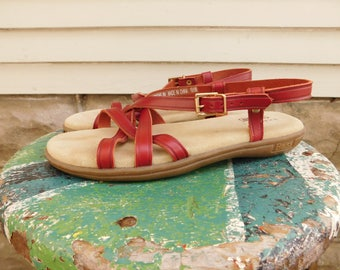 Vintage Leather Bass Sunjuns Sandals Size 8, Strappy Leather Flats