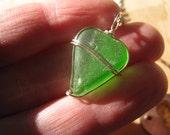 Little Lime Mermaid Heart Sea Glass Heart Lime Green Wire Wrapped Pendant Heart