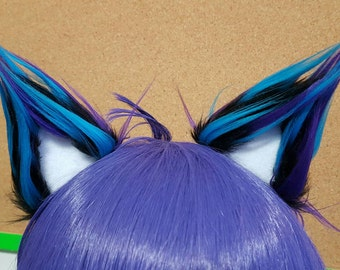 Spiky Black Nebula and White Clip on Cat Ears