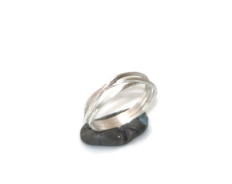 Crossover Silver Ring - Modern and Delicate triple sterling silver minimalist statement gift for her gift under 100