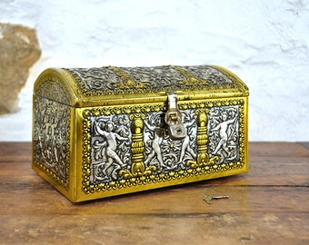 French Tin box Chest shaped Embossed cherubs WITH KEY & PADLOCK